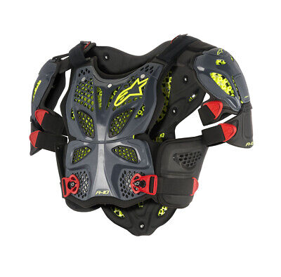 Alpinestars MX A-10 Full Chest/Back Protector Roost Guard (Black/Red/Yell) MD-LG