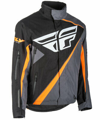 Fly Racing Snow Snowmobile Men's SNX Jacket (Black/Orange/Grey) M (Medium)