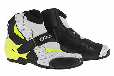 ALPINESTARS SMX-1 R Vented Low-Cut Motorcycle Boots (Black/White/Yellow) EU 47