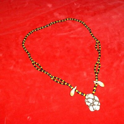 Rare Ca 1900 Native American Indian Beaded Elk Tooth Necklace / White Turquoise