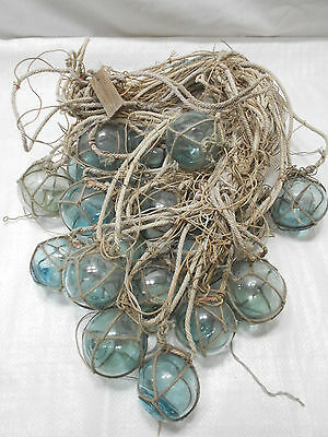 """OLD Glass Fishing Floats Bundle Bunch of 2.5"""" balls white/grey rope Japanese"""