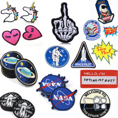 Fashion Embroidered Iron on & Sewing On Fabric Patches Applique Badges Crafts