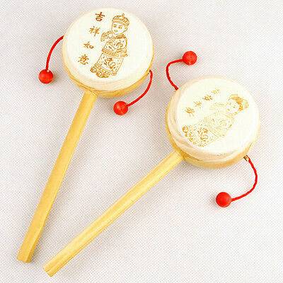 PC Baby Kids Wooden Rattle Toys Drum Percussion Musical Toys Hand Bell Toy Aa