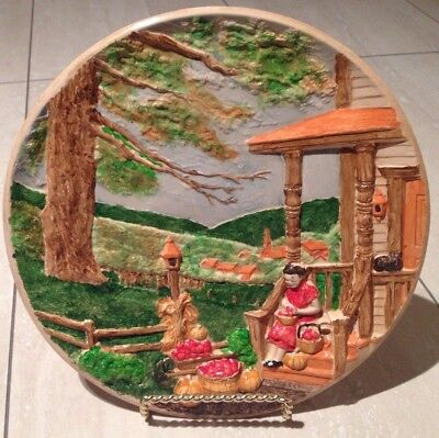 Vintage collectible rare colorful Handmade Wall plate home decor