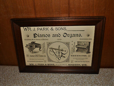 1892 WM J. Park & Sons Pianos and Organs King St. Madison WI Vintage Framed AD