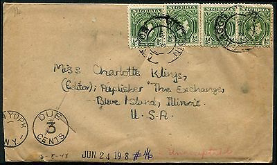 Nigeria KGVI 1/2d green x 4 ON Postage Due cover to USA