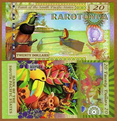 SOUTH PACIFIC STATES Rarotonga (Cook Is) $20 2015 1 x FANTASY Polymer Banknote