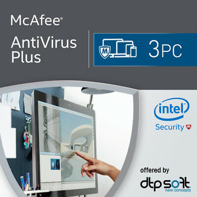 McAfee Anti-Virus Plus 3 PC 2019 VOLLVERSION AntiVirus Plus 2018 DE EU