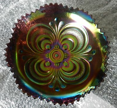 Old Imperial Carnival Glass Scroll Embossed Purple Bowl