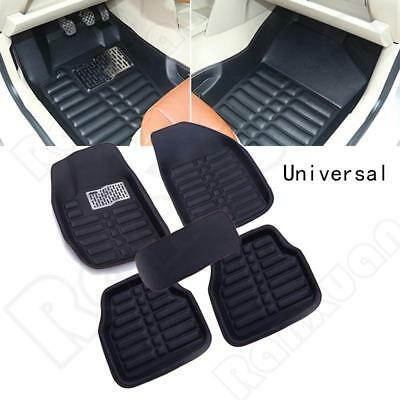 Black Universal Car Floor Mats FloorLiner Front&Rear Carpet All Weather 5Pcs Mat