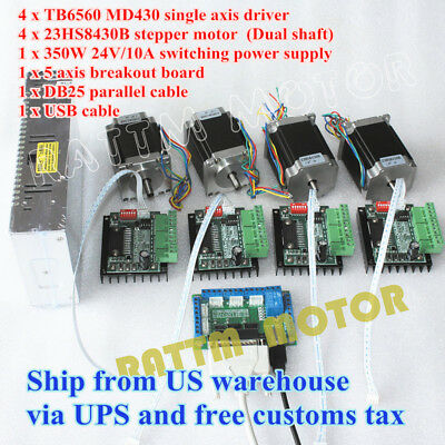 【US Stock】4 Axis Nema23 Dual Shaft Stepper Motor 270Oz-in&Driver&Power supply