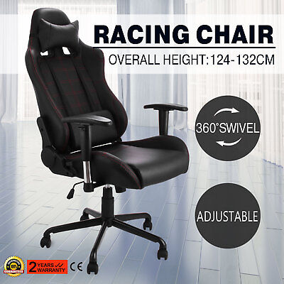 Racing Office Gaming Computer Chair PU Leather Reclining Functional High back