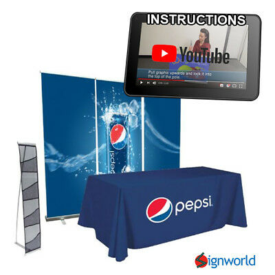 Economical Trade Show Kit - Retractable Roll Up + Table Throw + Literature Stand
