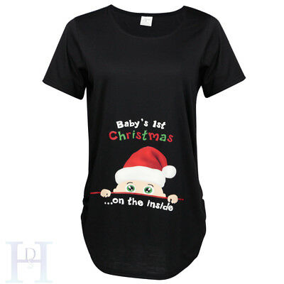 Baby's 1st Christmas on the side Maternity T-shirt Pregnancy Tee Top Xmas Fun