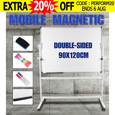 Mobile MAGNETIC Whiteboard 900mmx1200mm Double-sided Stand Office Board Eraser