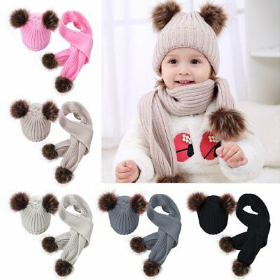 Newborn Baby Boys Girls Fur Pom Hat Winter Warm Knitted Beanie Cap Scarves scarf