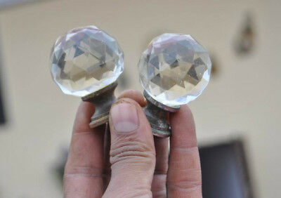"Vtg Victorian Clear Diamond Cut Prism Glass Entrance Door Knob Pull 1.5"" Pair"