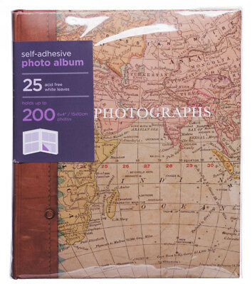 WHSmith Antique World Map Large Photo Album 25 White Self-Adhesive Leaves