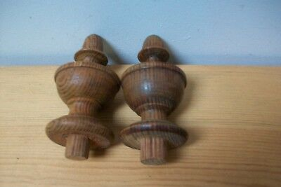 Pair vintage french wooden finials for furniure decoration mounts #1