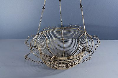 Antique FRENCH COUNTRY Hanging Garden Planter Shabby Cottage Flower Wire Basket