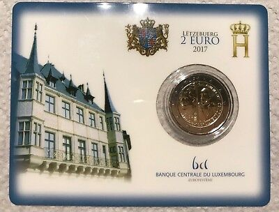 Piece 2 Euros commémorative , Luxembourg 2017 ,Coin card, Guillaume lll 200ans