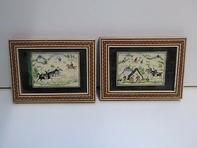 2 x Vintage Eastern Sadeli Micro Mosaic Framed Miniature Paintings of Hunters