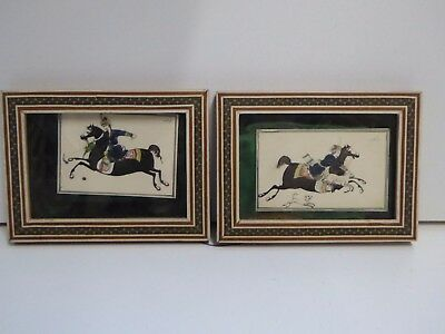 2 x Vintage Eastern Sadeli Micro Mosaic Framed Miniature Paintings of Horsemen