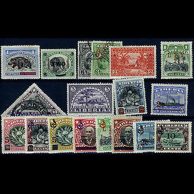LIBERIA Selection of 18 Vales. Mint & Used. Unchecked. (CA25R)