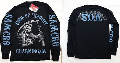 Sons of Anarchy SOA Blue Tone Reaper Tv Show Long Sleeve Shirt Nwt