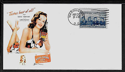 1940s Royal Crown RC Cola & Gene Tierney Featured on Collector's Envelope *A908