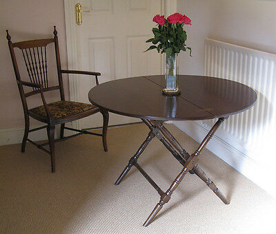 Edwardian Mahogany Folding Campaign or Coaching Table by Thornton & Herne