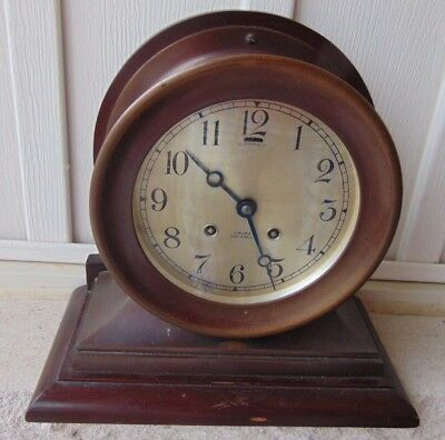 Vintage Chelsea Bronze Case Ship's Bell Clock on Base 1925 to 1929