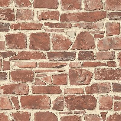 Red Stone Wall Wallpaper - Rasch 265613 - Brick Room Decor Feature Wall