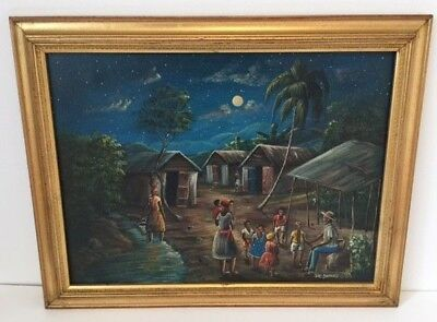 Jean Claude Damas Oil Painting On Canvas Night Scene Listed Artist Signed 14'5 X