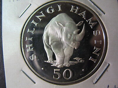 "Tanzania Large 1 5/8"" 50 Shillings Silver Proof Coin Date 1974, Neat Rhinoceros"