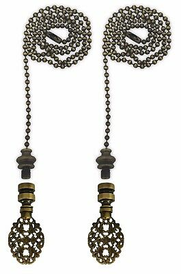 Royal Designs Fan Pull Chain with Oval Filigree Finial – Antique Brass