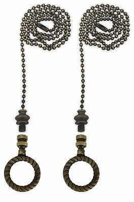 Royal Designs Fan Pull Chain with Rope Wreath Finial – Antique Brass