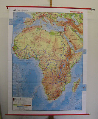 Schulwandkarte Afrika Africa physisch vintage physical map ~2000 140x187cm card