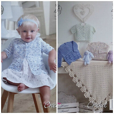 Baby Crochet Pattern Baby Matinee Coats Cardigans And Shawl 4ply