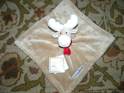 NWT Blankets & Beyond Beige And White Bunny Reindeer Security Blanket Lovey Nunu