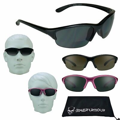 Sport BIFOCAL SUNGLASS Readers Z87 Safety Tennis Golf Cycling Pink Small Size