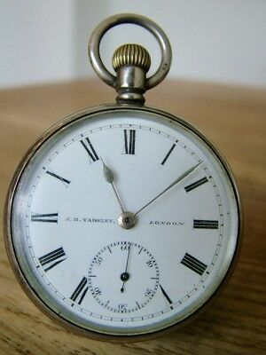 Antique Gents Hm1905 Solid Silver Pocket Watch Yabsley London No Reserve