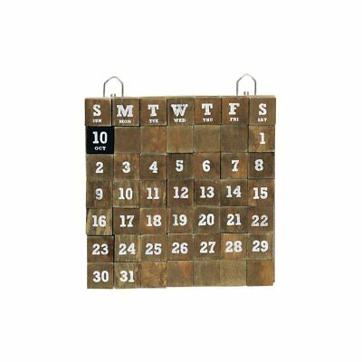 Time Concept Rustic Wooden Cube Perpetual Calendar - Wall - Small