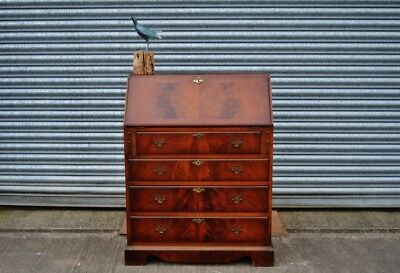 Antique Reproduction Bureau Desk With Bank Of Drawers.