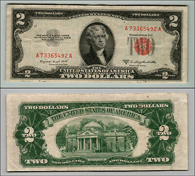 1953B $2 Dollar Bill Old Us Note Legal Tender Paper Money Currency Red Seal Q858