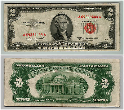 1953B $2 Dollar Bill Old Us Note Legal Tender Paper Money Currency Red Seal Q857