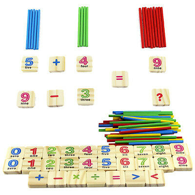 Baby Early Learning Wooden Numbers Stick Mathematics Counting Math Toys -Q