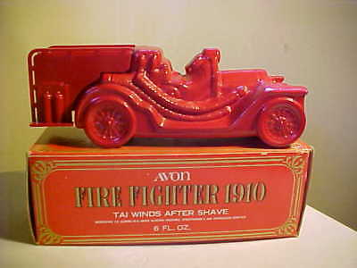 """Vintage Avon Decanter Fire Truck Fire Fighter 1910 """"New in Box"""""""