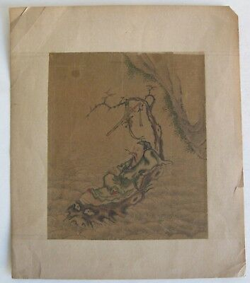 Fine Old Chinese Xian Immortal Warrior Scholar Original Scroll Painting