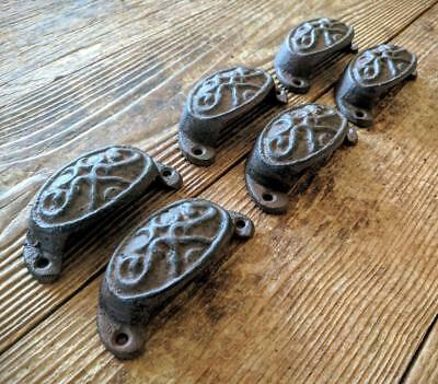 Six (6) Cast Iron Handles Drawer Bin Pulls Rustic Brown Vintage Style 3 1/2""